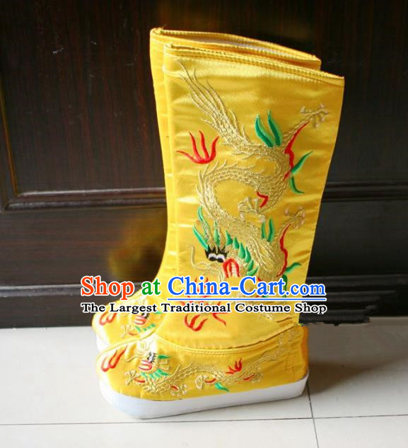 Chinese Traditional Beijing Opera Emperor Shoes Beijing Opera Takefu Yellow Embroidered Boots for Men