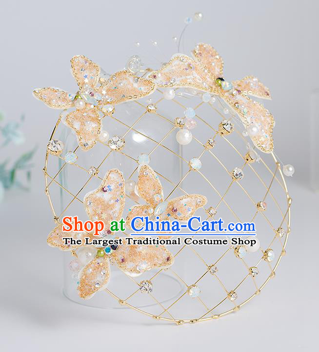 Top Grade Bride Wedding Hair Accessories Golden Butterfly Top Hats for Women