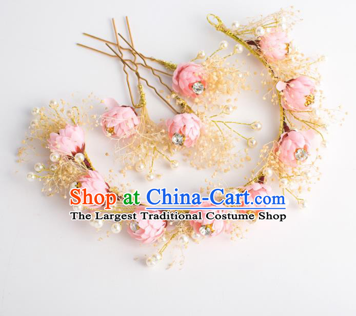 Top Grade Bride Wedding Hair Accessories Pink Flowers Hair Clasp for Women