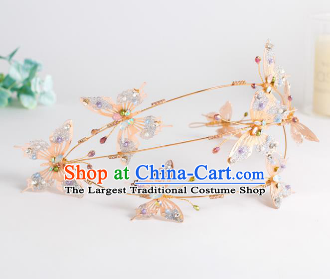 Top Grade Wedding Hair Accessories Bride Pink Butterfly Crystal Royal Crown for Women