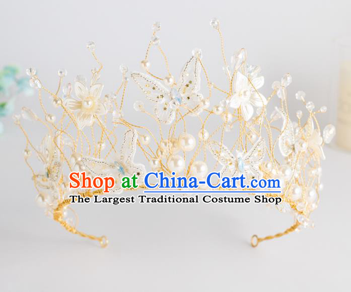 Top Grade Wedding Hair Accessories Bride Retro Beads Butterfly Royal Crown for Women