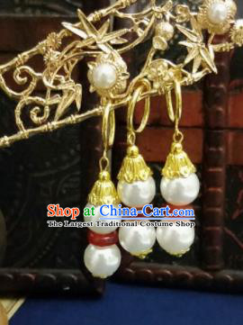 Chinese Ancient Agate Earrings Qing Dynasty Manchu Palace Lady Three Strings Beads Ear Accessories for Women