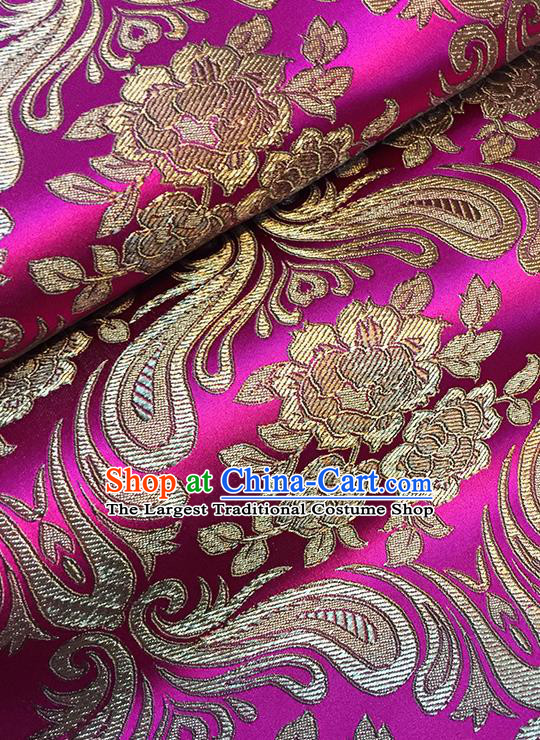 Asian Chinese Rosy Brocade Traditional Peony Pattern Fabric Silk Fabric Chinese Fabric Material