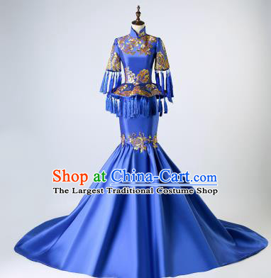 Chinese Traditional National Blue Mermaid Cheongsam Compere Chorus Costume Full Dress for Women