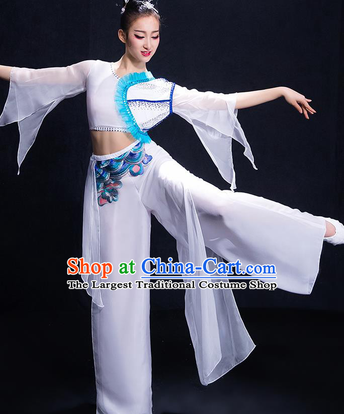 Chinese Traditional Classical Dance Fan Dance White Dress Umbrella Dance Costume for Women