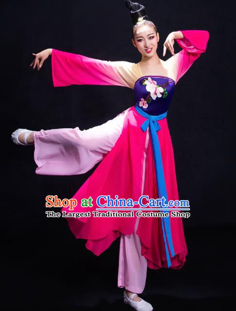 Chinese Traditional Classical Dance Fan Dance Rosy Dress Umbrella Dance Costume for Women
