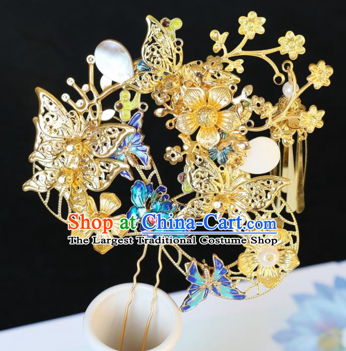 Chinese Traditional Hair Accessories Ancient Tassel Butterfly Step Shake Blueing Hairpins for Women