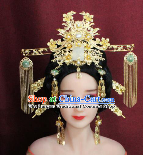 Chinese Ancient Princess Hair Accessories Palace Lady Jade Phoenix Coronet Hairpins for Women