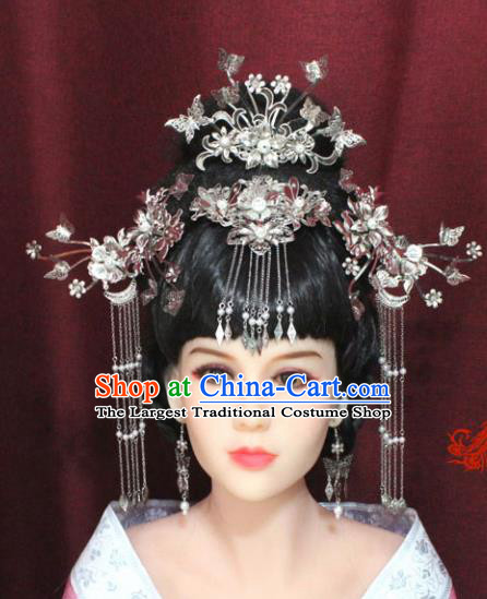 Chinese Ancient Palace Hair Accessories Handmade Tang Dynasty Princess Phoenix Coronet Hairpins for Women