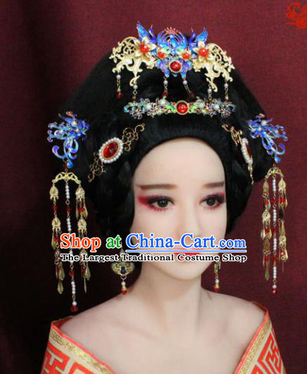 Chinese Ancient Princess Hair Accessories Palace Lady Blueing Phoenix Coronet Hairpins for Women