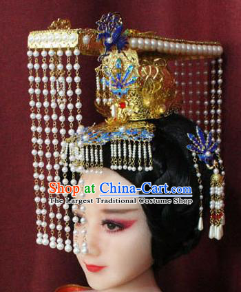 df6708d02e4 Chinese Ancient Queen Hair Accessories Tang Dynasty Empress Phoenix Coronet  Hat for Women
