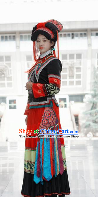 Chinese Traditional Yi Nationality Dance Costumes and Hat Complete Set for Women