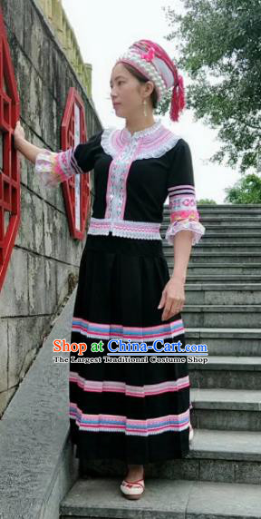 Chinese Traditional Yao Nationality Dance Costumes and Hat Complete Set for Women