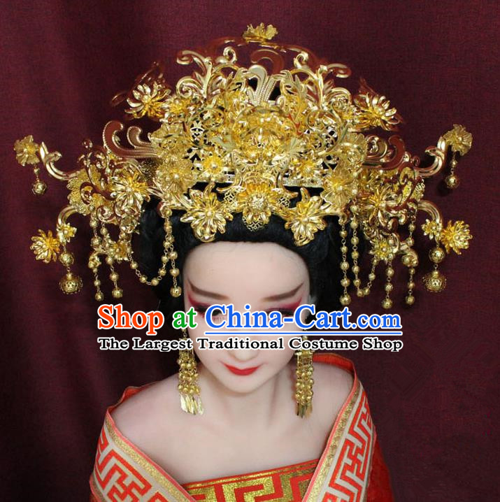 Chinese Ancient Handmade Hair Accessories Empress Phoenix Coronet Hairpins for Women