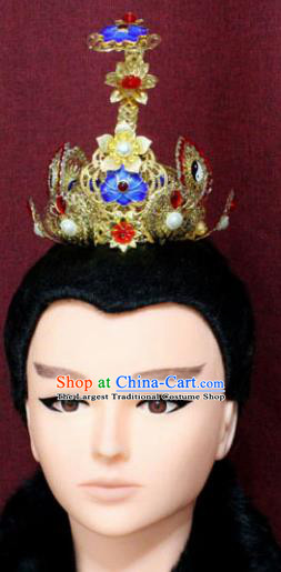 Chinese Traditional Swordsman Hair Accessories Ancient Han Dynasty Prince Blueing Lotus Hairdo Crown for Men