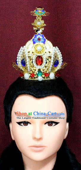 Chinese Traditional Swordsman Pearls Hair Accessories Ancient Han Dynasty Prince Blueing Lotus Hairdo Crown for Men