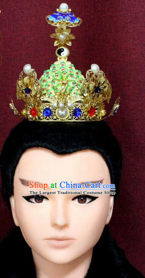 Chinese Traditional Swordsman Taoist Hair Accessories Ancient Han Dynasty Prince Blueing Lotus Hairdo Crown for Men