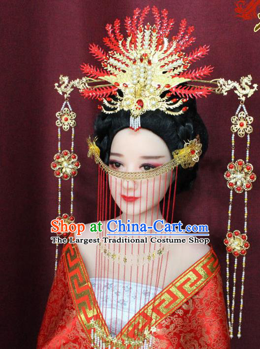 Chinese Ancient Ming Dynasty Empress Hair Accessories Red Phoenix Coronet Hairpins for Women