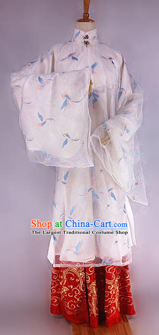 Chinese Ancient Ming Dynasty Nobility Lady Embroidered Costumes Complete Set for Women