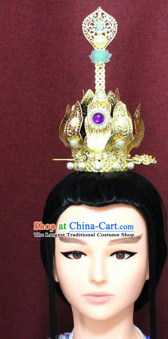 Chinese Traditional Tang Dynasty Swordsman Jewel Hairdo Crown Ancient Crown Prince Hair Accessories for Men