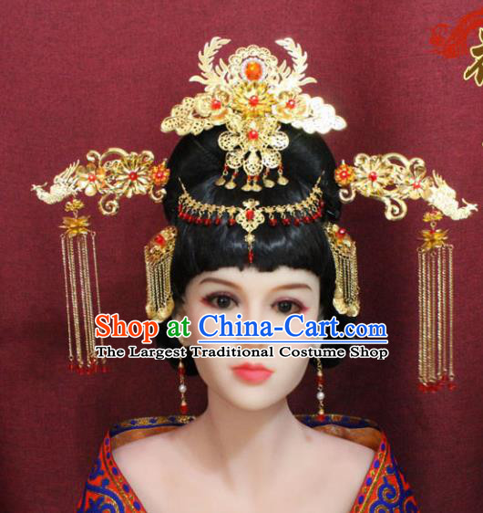 Chinese Handmade Tang Dynasty Princess Phoenix Coronet Ancient Palace Hair Accessories Hairpins for Women