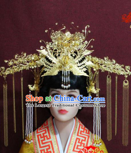 Chinese Handmade Palace Queen Hairpins Ancient Bride Phoenix Coronet Hair Accessories for Women