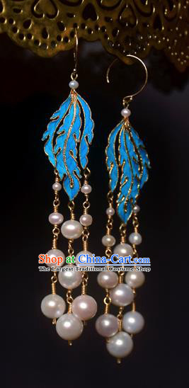 Asian Chinese Traditional Jewelry Accessories Palace Pearls Tassel Earrings for Women