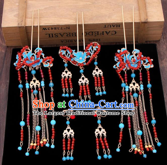Chinese Ancient Bride Hair Accessories XiuHe Suit Tassel Hair Clips Hanfu Handmade Hairpins for Women