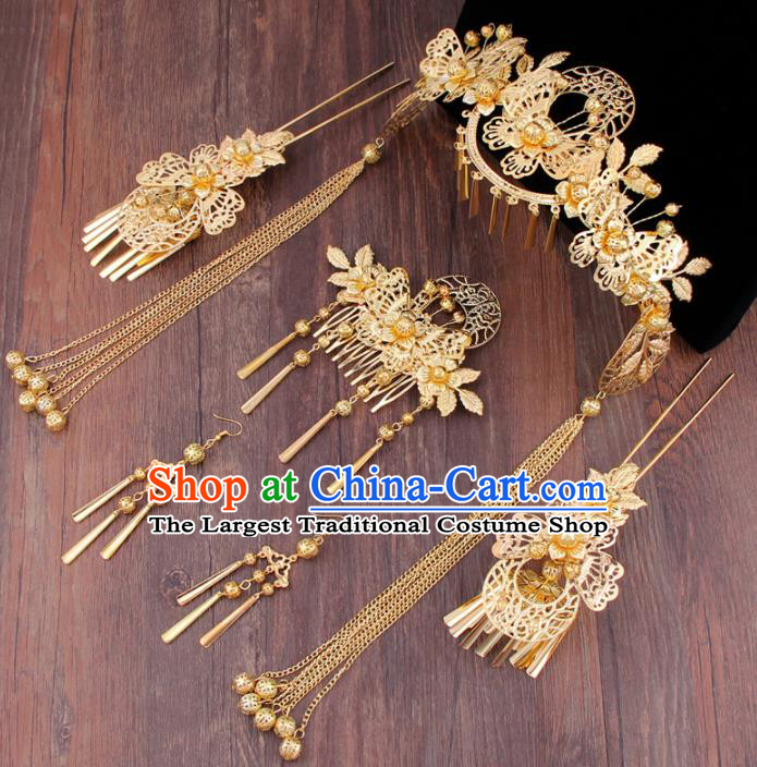 Chinese Ancient Bride Hair Accessories XiuHe Suit Hair Combs Hanfu Handmade Hairpins for Women