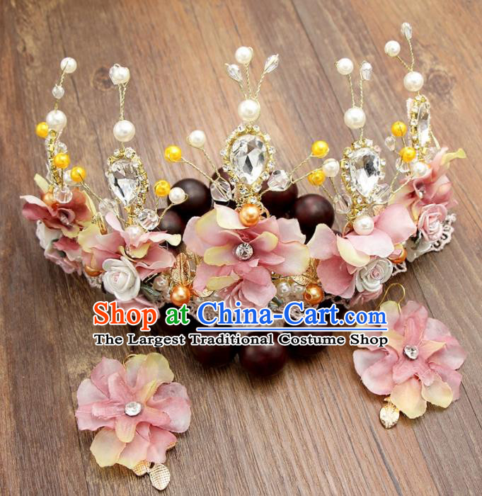 Top Grade Bride Hair Accessories Wedding Pink Flowers Royal Crown and Earrings for Women