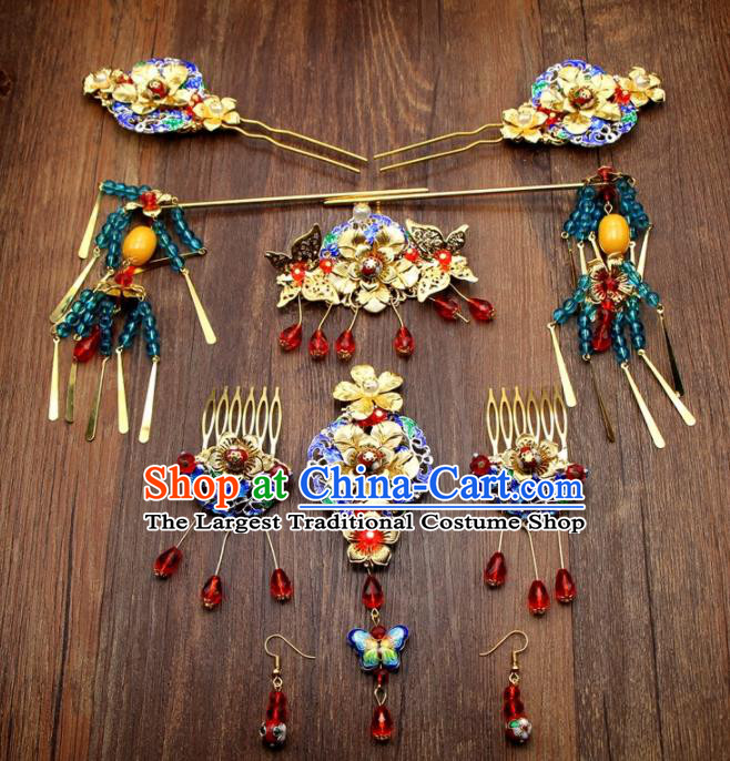 Chinese Ancient XiuHe Suit Handmade Hairpins Cloisonne Hair Accessories Complete Set for Women