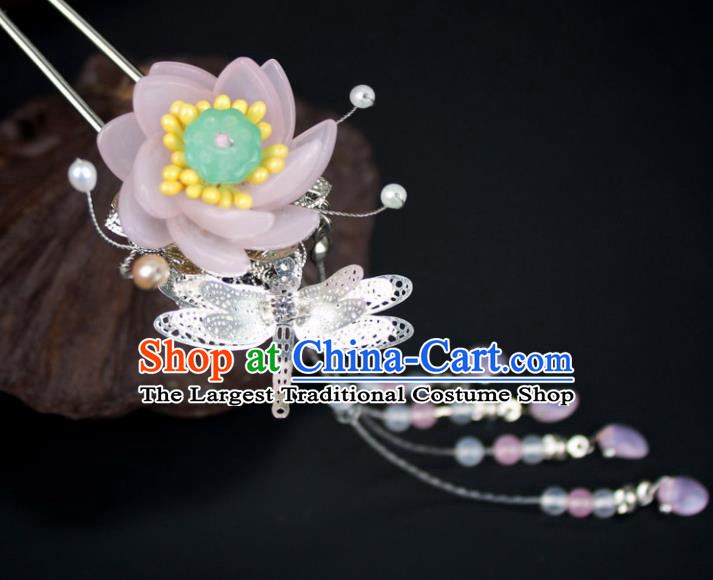 Chinese Ancient Handmade Hanfu Pink Lotus Hair Clip Hairpins Hair Accessories for Women