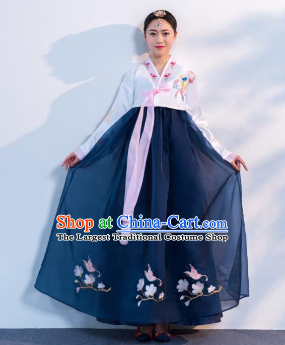 Asian Korean Traditional Costumes Korean Hanbok White Embroidered Blouse and Navy Skirt for Women