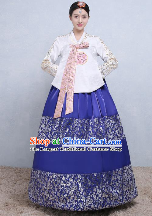 Asian Korean Traditional Costumes Korean Palace Hanbok Embroidered White Blouse and Blue Skirt for Women