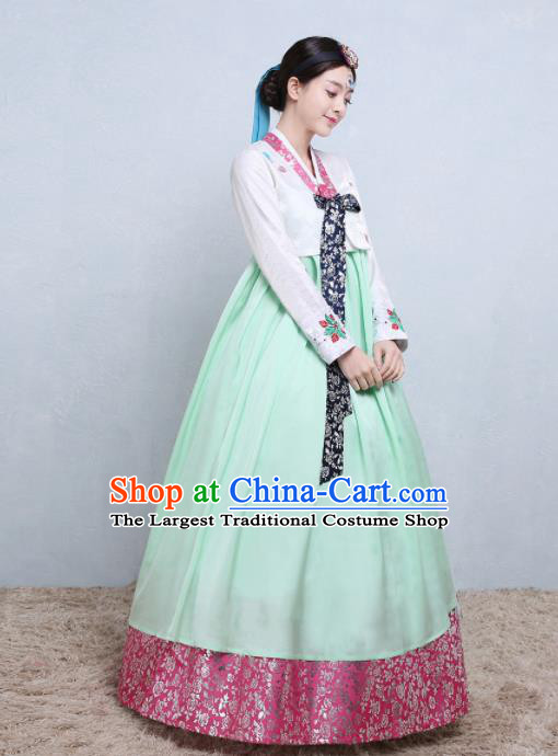 Asian Korean Traditional Costumes Korean Palace Hanbok Embroidered White Blouse and Green Skirt for Women