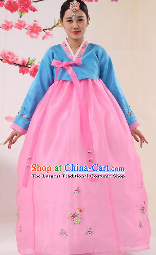 Korean Traditional Costumes Asian Korean Palace Hanbok Bride Embroidered Blue Blouse and Pink Skirt for Women