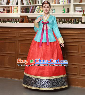 Korean Traditional Costumes Asian Korean Hanbok Palace Bride Embroidered Blue Blouse and Red Skirt for Women
