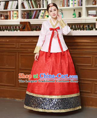 Korean Traditional Costumes Asian Korean Hanbok Palace Bride Embroidered White Blouse and Red Skirt for Women