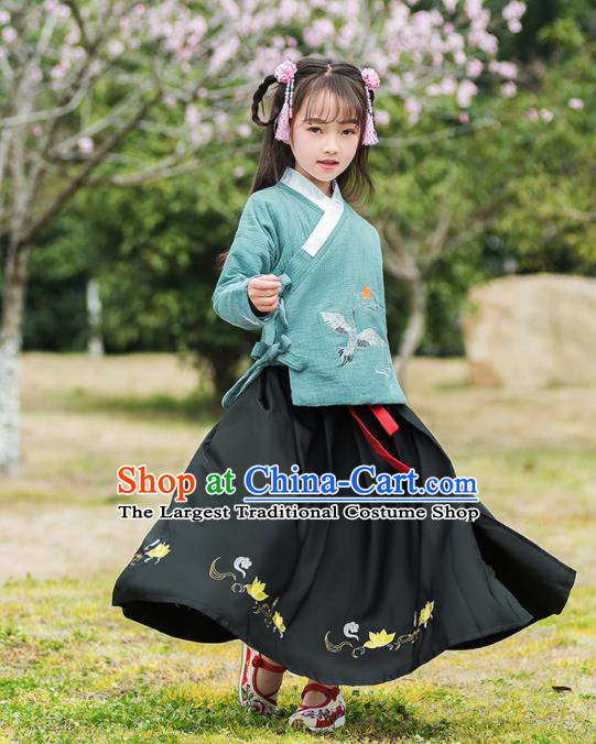 Traditional Chinese Ancient Ming Dynasty Costumes Green Blouse and Black Skirt for Kids
