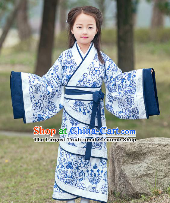 Traditional Chinese Ancient Han Dynasty Princess Costume Blue Curving-front Robe for Kids