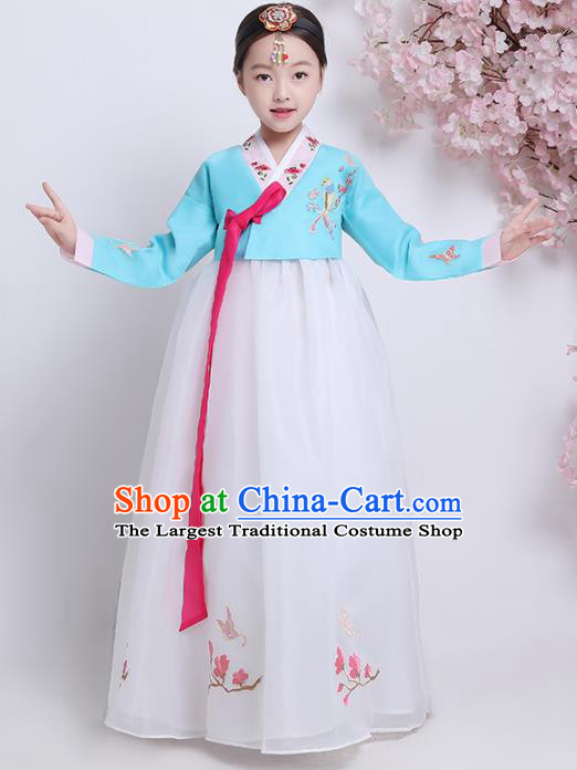 Asian Korean Traditional Costumes Korean Hanbok Blue Blouse and White Skirt for Kids