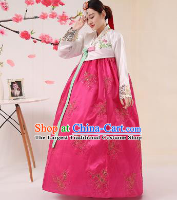 Korean Traditional Palace Costumes Asian Korean Hanbok Bride Embroidered White Blouse and Rosy Skirt for Women