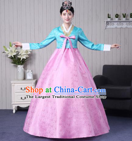 Traditional Korean Palace Costumes Asian Korean Hanbok Bride Blue Blouse and Pink Skirt for Women
