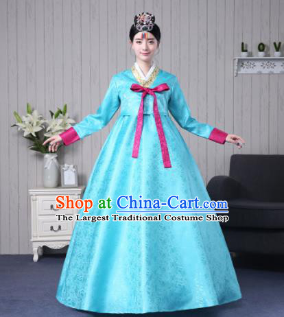 Traditional Korean Palace Costumes Asian Korean Hanbok Blue Blouse and Skirt for Women