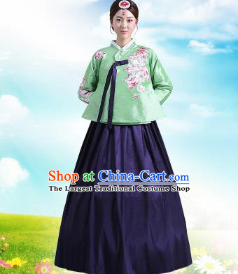 Traditional Korean Costumes Asian Korean Palace Hanbok Green Blouse and Navy Skirt for Women