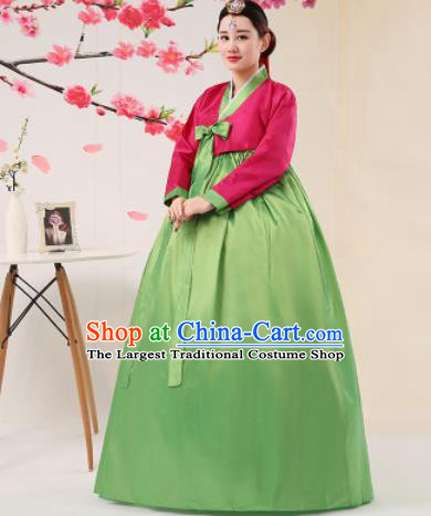 Korean Traditional Palace Costumes Asian Korean Hanbok Bride Rosy Blouse and Green Skirt for Women