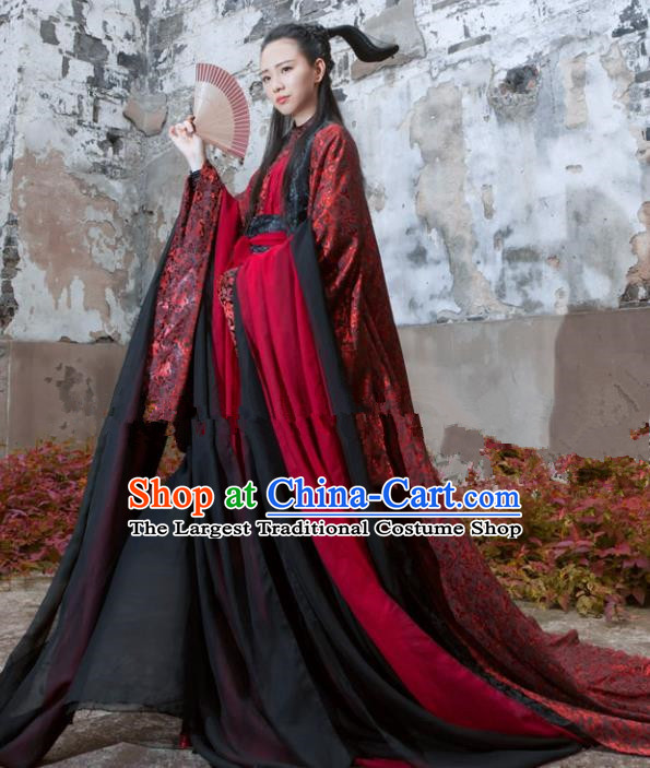 Chinese Ancient Cosplay Peri Hanfu Dress Traditional Han Dynasty Swordswoman Costume for Women