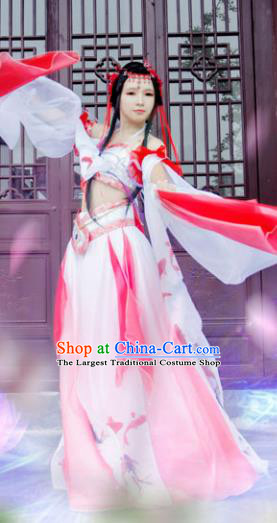 Chinese Ancient Cosplay Peri Princess Red Hanfu Dress Traditional Tang Dynasty Swordswoman Costume for Women