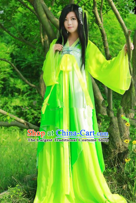 Chinese Ancient Cosplay Peri Green Hanfu Dress Traditional Tang Dynasty Swordswoman Costume for Women