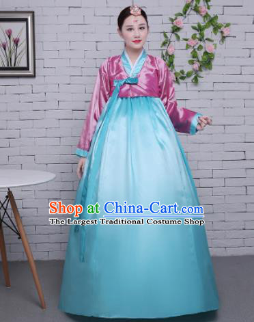 Korean Traditional Palace Costumes Asian Korean Hanbok Bride Pink Blouse and Blue Skirt for Women